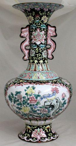 "18"" Tall Chinese Republic Period Canton Enamel Vase Bird Flower"