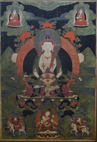 Large Tibetan Thangka Amitayus Seated on Lotus Throne, 19th Century