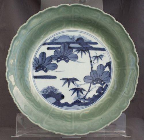 "11.5"" Dia. Japanese Sometsuke Seiji Porcelain Foliate Dish Shochikubai"