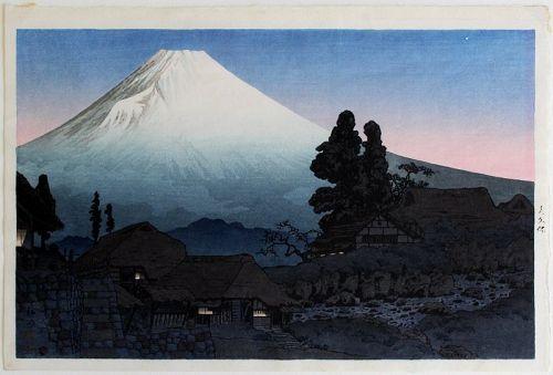 Japanese Woodblock Print Takahashi Shotei Hiroaki Mt. Fuji Mizukubo