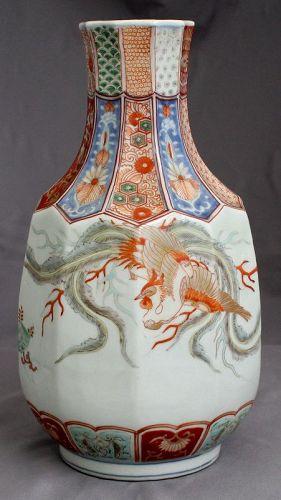Japanese Edo Meiji Imari Porcelain Vase Kakiemon Phoenix Pawlonia