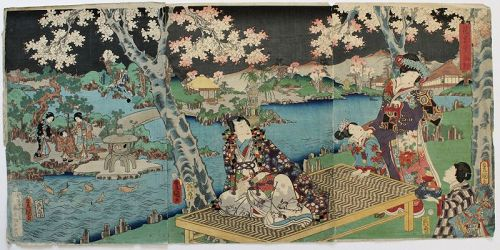 Japanese Edo Woodblock Print Triptych Kunisada Genji Flower Party