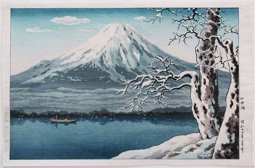 Japanese Shin Hanga Woodblock Print Koitsu Lake Yamanaka Winter Snow