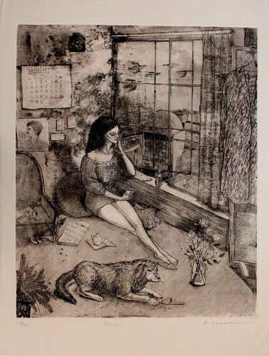 Extra Large Japanese Limited Edition Etching Ryoko Hirone Titled March