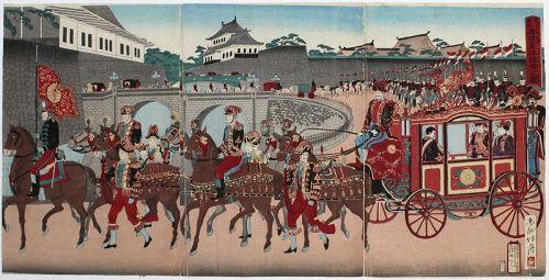 Japanese Meiji Woodblock Print Triptych Shogetsu Emperor Carriage