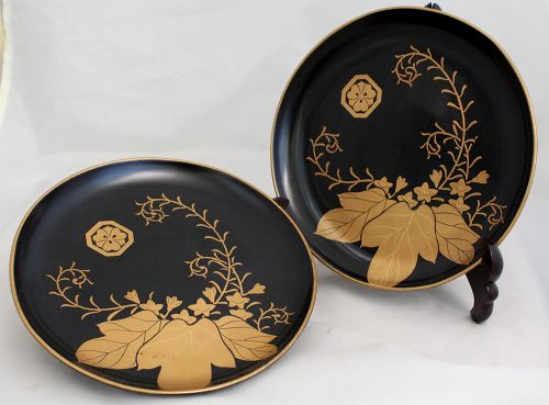Two Edo Japanese Lacquer Wood Dish Plate with Authentication Document