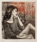 Modern Japanese Limited Edition Etching Ryoko Hirone Titled Twilight