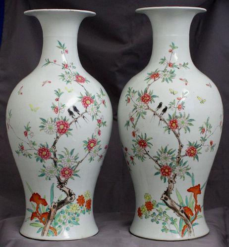 "Pair 17"" High Chinese Republic Famille Rose Fencai Vases Dated 1932"