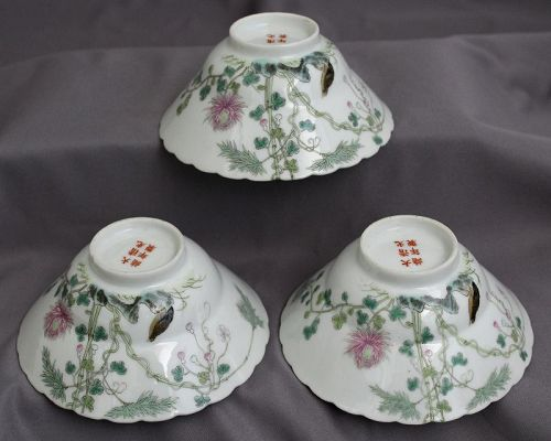 3 Chinese Qing Guangxu Mark & Period Ogee Form Famille Rose Bowls