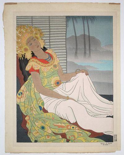 Japanese Ltd. Ed. Woodblock Print Paul Jacoulet Apres La Danse Celebes