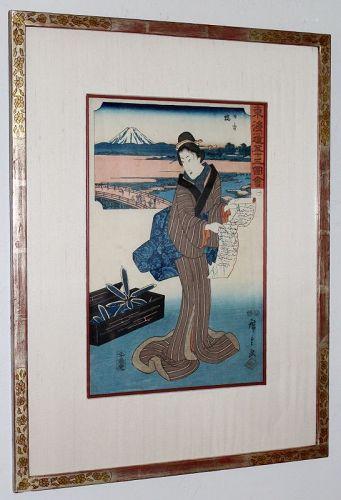Hiroshige Japanese Edo Woodblock Print Nihonbashi Bijin 53 Tokaido
