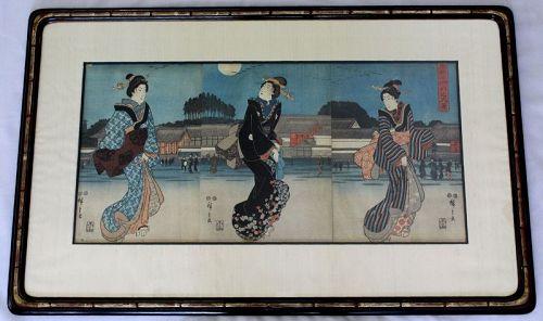 Hiroshige Japanese Edo Woodblock Print Triptych Bijin Moon Hongo