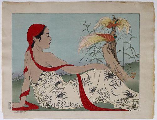 Japanese Ltd Ed Woodblock Print Paul Jacoulet Birds Paradise Celebes