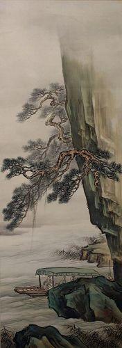 """105"""" Long Yagioka Shunzan Meiji to Showa Scroll Painting Kakejiku"""
