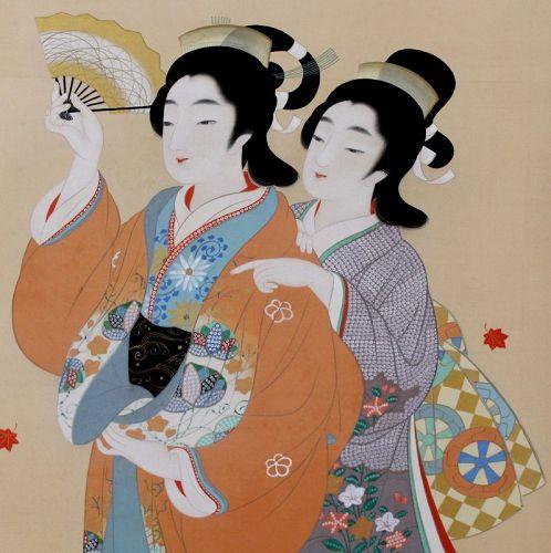 Japanese Nakayama Shuko Showa Silk Scroll Painting Kakejiku Maiko