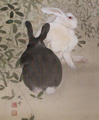 Japanese Showa Silk Scroll Painting Kakejiku Two Rabbits Under Moon