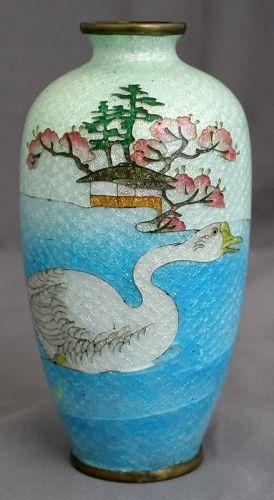 Adachi Kinjiro Japanese Meiji Cloisonne Cabinet Vase Ginbari Duck