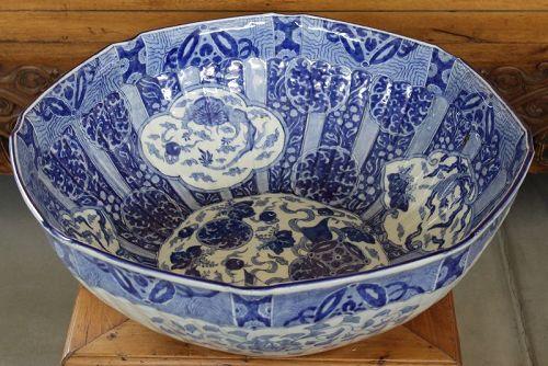 "Huge 20"" Dia. Japanese Meiji Arita Porcelain Punch Bowl Treasure Ship"