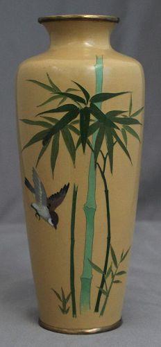"""6"""" High Japanese Showa Ando Marked Cloisonne Vase Bird Bamboo"""