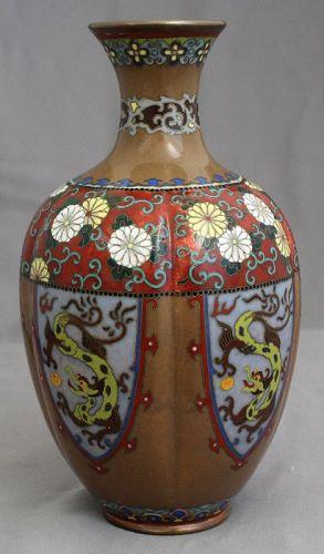 "7"" High Japanese Taisho Period Cloisonne Ribbed Vase Dragon Panels"