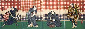 Japanese Woodblock Print Quadriptych - Osaka Edo Actor
