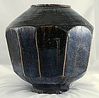 Large Korean Choson Yi Temmoku Glaze 10-faceted Jar 19c