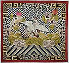Chinese Late Qing Silk Embroidered Mandarin Rank Badge