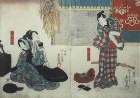 Japanese Edo Woodblock Print Diptych Kunisada Kabuki Actor Samurai