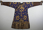 Chinese Qing Gold-couched Silk Manchu Eight Dragon Robe