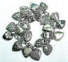 1940s Sterling Puffed Heart Charm Bracelet - 21 Hearts