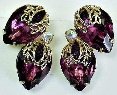 Amethyst Glass Clip Earrings with Gold Filigree Trim