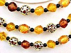 Triple Strand Choker - Fall Colored Beads