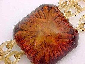 Art Deco Glorious Back Carved Bakelite Bracelet
