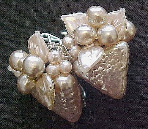 Large Pearlized Grape Cluster European Back Earrings
