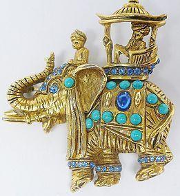 Hattie Carnegie Jeweled Elephant Brooch