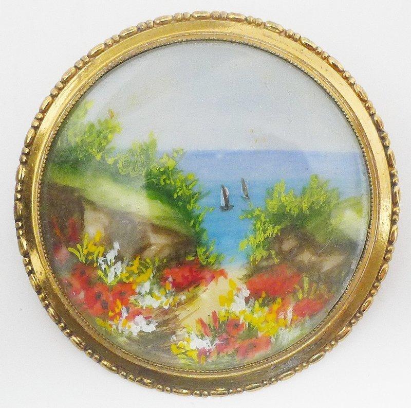 Art Deco T. Mott Pin - painting under glass