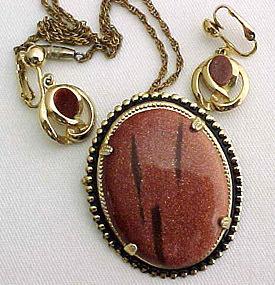 Goldstone Pin/Pendant and Earrings