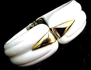 Nice Gold Toned and White Hinged Bangle