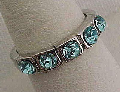 Pretty Faux Aquamarine Band Ring