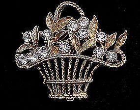 Pretty Clear Rhinestone Basket Brooch