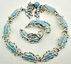 Pretty Light Blue Enamel Leaf Demi-Parure
