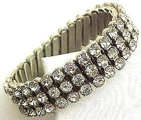 Pretty 1950s Rhinestone Expansion Bracelet