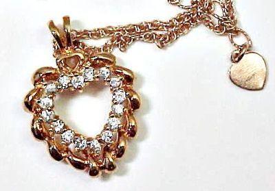 Pink Gold Toned Avon Rhinestone Heart Necklace