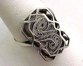 Fancy Filigree Silver Toned Ring