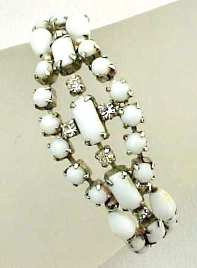 White and Clear Rhinestone Bracelet for Summer