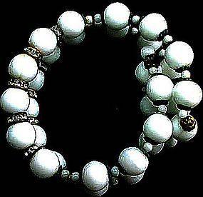 White Bead Memory Wire Bracelet with Rhinestones