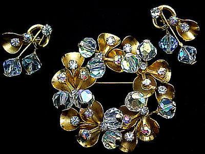 Pretty Aurora Borealis Rhinestone and Gold Toned Demi