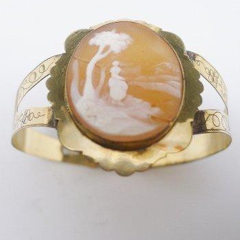 Victorian Gold Fill Shell Cameo Bracelet