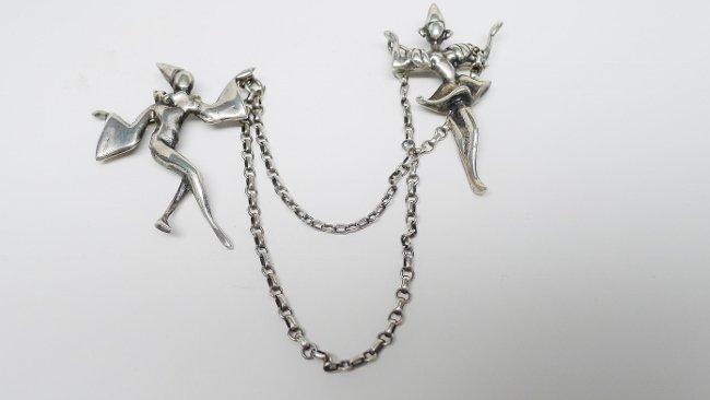 Sterling Silver Chatelaine Brooch - Harlequin Dancers