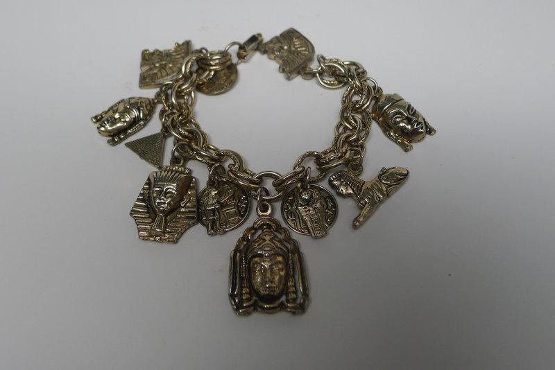 Jingly Egyptian Figures 1950s Charm Bracelet